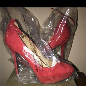 levity Shoes - Size 11 Red (Suede-type) heel with ankle strap